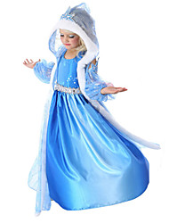 Costumes de Cosplay / Costume de Soirée Princesse Fête / Célébration Déguisement Halloween Bleu Ciel Couleur Pleine Robe / CapeHalloween