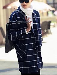 Men's Long Sleeve Long Coat , Tweed Plaids & Checks