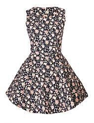Women's Print Black Dress , Print Round Neck Sleeveless