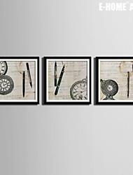 e-FOYER toile encadrée art, stylos et montres encadrées ensemble de 3 toile d'impression