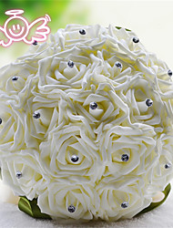 Rhinestone Round Roses Bouquets Wedding Flowers