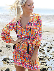 Dai Xi   Women's Character Multi-color Dresses , Sexy/Beach/Casual V-Neck Long Sleeve