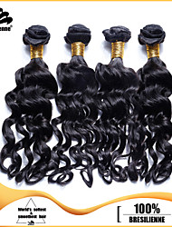 4pcs Brazilian Nadi Curl Hair Bundles Weaves Jet Black 100% Unprocessed Brazilian Human Hair Weft