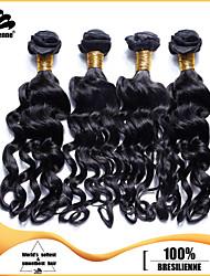 4pcs brasiliani nadi fasci di arricciare i capelli neri tesse la trama dei capelli jet 100% non trattato brasiliana umana