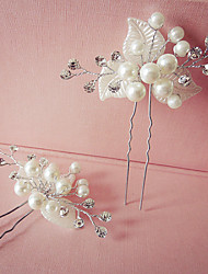 1 Pair Handmade Exqusite Women's  White Flower Shape Hair Stick Pins for Wedding Party Hair Jewelry with Pearl Crytsal