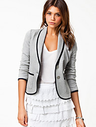 M&S Women's Solid Color Black / Gray Coats & Jackets , Sexy / Casual / Work Crew Neck Long Sleeve