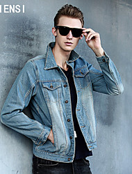 2015 autumn Metrosexual European version of slim denim jacket men jeans size retro cowboy Gown Dress