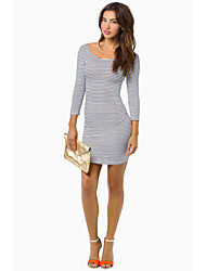 Women's Formal Sexy Bodycon Dress,Striped Round Neck Above Knee ¾ Sleeve Multi-color Cotton Fall