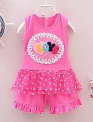Girls' Print Sets Summer Sleeveless Clothing Set