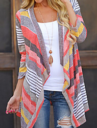Women's Color Block Multi-color Cardigan , Casual / Cute Long Sleeve