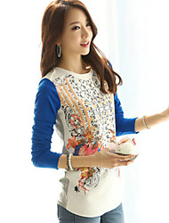Women's Pattern Color Tops Type ,  Bead Round Neck Long Sleeve