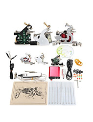 kit complet machine à tatouer set 3 fusils machines 10pcs kits de tatouage encre de tatouage