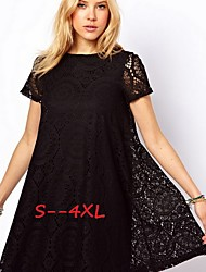 Women's Lace Blue/Red/White/Black/Green Plus Size Dresses , Casual/Lace Round Short Sleeve