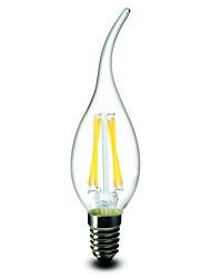 E14 E12 Ampoules à Filament LED CA35 4 COB 400 lm Blanc Chaud Intensité Réglable AC 100-240 AC 110-130 V 1 pièce
