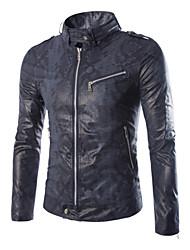 Men's V-Neck Coats & Jackets , PU Long Sleeve Casual Pocket Winter / Fall NEWJOGAL