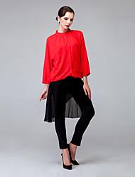 Women's Plus Size Patchwork Red / Black Set , V Neck Long Sleeve