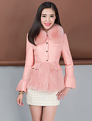 Women's Fashion Casual Fox Fur Spliced Genuine/Real Sheepskin Leather Down Jacket/Coat