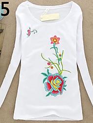 Langærmet Kvinders Broderi Rund hals T-shirt Bomuld