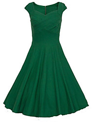 Women's Vintage / Party / Cocktail Solid Dress,Round Neck Midi Cotton