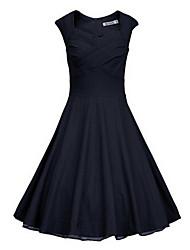 Vestidos ( Algodón Compuesto )- Casual Redondo Manga Corta para Mujer