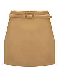 Women's Solid Red / Black / Brown Skirts , Casual / Work Above Knee