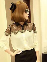 Camicia Da donna Traforato Colletto Manica lunga Chiffon