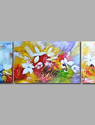 Ручная роспись Абстракция Цветочные мотивы/ботаническийModern 3 панели Холст Hang-роспись маслом For Украшение дома