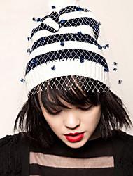 Women Fashion Stripe Knitwear Beanie/Slouchy with Veil , Vintage/Casual Winter