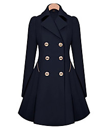 Hot-selling Autumn Casual Women's Outerwear Double Breasted Back Pleated Trend Medium-long Trench PeiNi