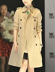 Women's Trench Coat,Solid Long Sleeve Winter Yellow Cotton / Others