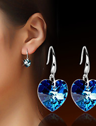 Women's Drop Earrings Crystal Love Silver Plated Jewelry For