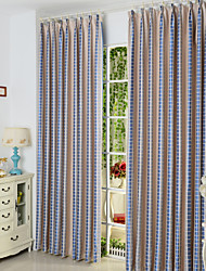 Mediterranean Two Panels Plaid/Check  Living Room Poly  Cotton Blend Panel Curtains Drapes