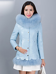 Women's Fashion Bodycon Fox Fur Spliced Genuine/Real Sheepskin Leather Down Jacket/Coat with Hood