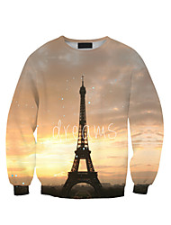 Women's Print Multi-color Hoodies , Casual Round Neck Long Sleeve