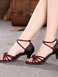 Non Customizable Women's Dance Shoes Latin/Ballroom Satin Chunky Heel Multi-color