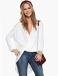 SEXY Women's Color Block White / Black Tops & Blouses , Vintage / Sexy / Casual / Work Round Long Sleeve