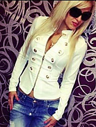 Winter Women's Solid Color White Coats & Jackets , Sexy / Casual / Work V-Neck Long Sleeve