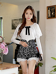 Pink Doll®Women's Casual Lace OL Bow Long Sleeve Slim Cloak Shirt