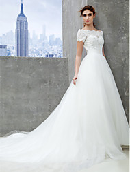 Lanting Bride® A-line Wedding Dress Chapel Train Off-the-shoulder Lace / Tulle with Lace