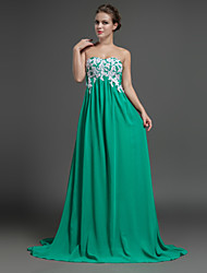 Formal Evening Dress Sheath / Column Sweetheart Sweep / Brush Train Chiffon with Appliques / Beading