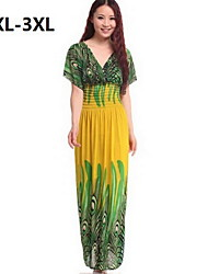 Women's Print Blue/Black/Yellow Dress , Beach/Plus Sizes Surplice Neck Short Sleeve