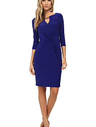 CEN     Women's Solid Color Blue Dresses , Bodycon / Party / Work Round Long Sleeve