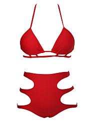 Kvinders Polyester / Spandex Halterneck Høj talje / Ensfarvet Bikini BH med indlæg