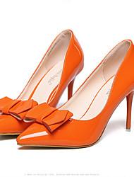 DamenKleid-Lackleder-Stöckelabsatz-Absätze / Spitzschuh-Schwarz / Orange