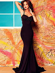 Women's Black Embellished Mermaid Maxi Dress