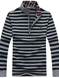 Men's Long Sleeve Polo , Cotton Casual / Work / Formal Striped