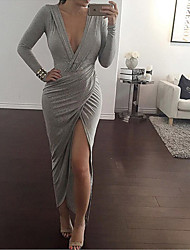 CEN     Women's Solid Color Gray Dresses , Sexy / Bodycon / Casual / Party V-Neck Long Sleeve