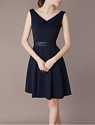 Women's Solid Color Blue Dresses , Party / Work V-Neck Above Knee