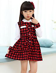 Vestido Chica de - Verano / Primavera / Otoño - Algodón / Mezcla de Algodón - Negro / Rojo