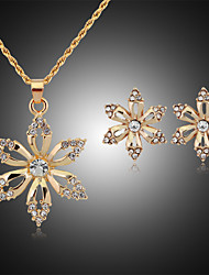 Lucky Doll Women's Vintage Rose Gold Plated Zirconia Geometric Flower Necklace & Earrings Jewelry Sets